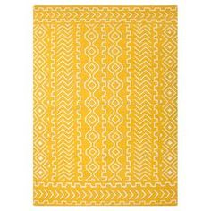 Transform your den, dining room, or master suite into a  bohemian retreat with this beautiful rug, showcasing an exotic-inspired motif and artfully crafted detail.    Product: RugConstruction Material: 100% WoolColor: YellowFeatures:  ReversibleExotic-inspired motifNote: Please be aware that actual colors may vary from those shown on your screen. Accent rugs may also not show the entire pattern that the corresponding area rugs have.Cleaning and Care: Vacuum regularly. Blot spills immediately…