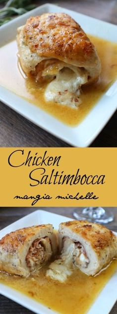 Classic chicken saltimbocca is rolled up with prosciutto and mozzarella and drenched in a tasty white wine pan sauce ~ www.mangiamichelle.com