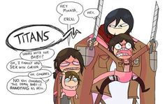 Image shared by Rei Ackerman. Find images and videos about lol, attack on titan and snk on We Heart It - the app to get lost in what you love. Aot Funny, Ymir, Eremika, Attack On Titan Anime, Mikasa, Disneyland, Fan Art, Deviantart, Comics