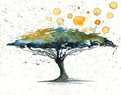 Happy Tree-Landscape painting-Watercolor-Archival Print by Ireart