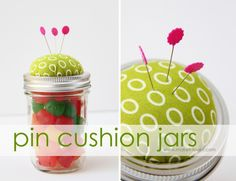 Pin Cushion Jars (fill with buttons, notions…….or candy!) candy pin cushions – Make It and Love It Crafty Craft, Crafty Projects, Crafting, Sewing Projects, Homemade Christmas Gifts, Homemade Gifts, Christmas Crafts, Diy Mothers Day Gifts, Mother's Day Diy