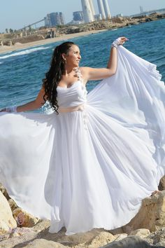 Light chiffon dress with peach belt and flowers