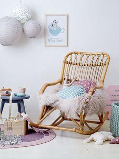 Rattan Rocking Chair in Natural Rattan Rocking Chair, Rocking Chair Nursery, Big Comfy Chair, Deco Kids, Scandinavian Style Home, Mini, Wooden Stools, Kids Decor, Home Decor