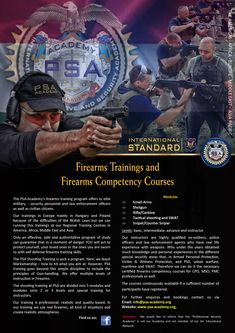 General information of the PSA Academy Firearms Training Program and Courses