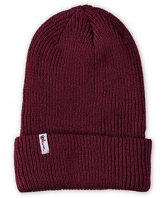 An oversized ribbed knit construction provides stylish warmth with a fold-over cuff in a clean dark red colorway.