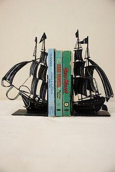 vintage metal sailboat bookends. $48.00, via Etsy.