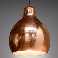 The copper pendant makes a stunning feature pendant, for use individually, or suspended in a line over a dining table or kitchen bench. 260 H x 180mm