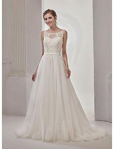 a-line Prinzessin Illusion Ausschnitt Gericht Zug Tüll Brautkleid mit Perlen von md