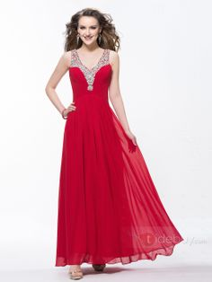 #Ruched #2014 #Floor-Length Charming V-Neck Sequins Ruched Beading A-Line Floor-Length Evening Dress