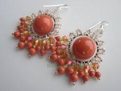 ▶ Coral Earrings . Swarovski pearl and bicones , SB 11\0 15\0 . Коралловые серьги - YouTube