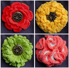 Big Button Interchangeable Flowers    http://www.micahmakes.com/pattern-store/big-button-interchangeable-flowers-set-2