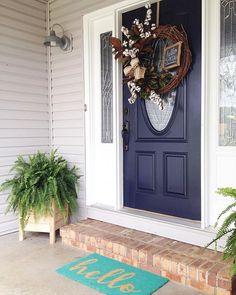 Super Front Door Painted In Sherwin Williams 7620 Seaworthy Door Handles Collection Dhjemzonderlifede