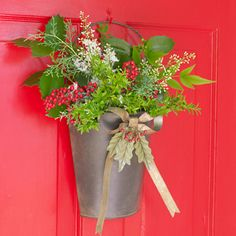 Berry and Bow Door Bucket ~ Spread good cheer to your entire neighborhood with a rustic door bucket complete with festive bow and sprig of berries. After the holidays, the bow can be packed inside the bucket for easy storage.   NOTE: Seasonal items available thru the end of December  Regular Price $36.96 On Sale now for $11.96  View Catalog  ~  View Website  Back to Home Page