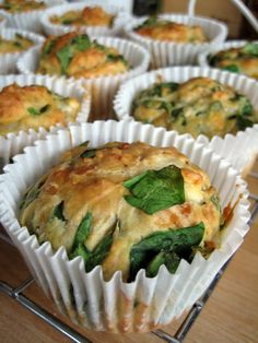 Feta, Cheddar and Spinach Muffins. This will require some substitution (olive oil for butter, non-dairy milk for milk and no cheddar just feta) but it sounds delicious. I Love Food, Good Food, Yummy Food, Yummy Treats, Great Recipes, Favorite Recipes, Easy Recipes, Cooking Recipes, Healthy Recipes