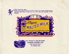 1920s Malted Milk Candy Wrapper