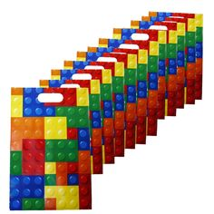 Building Blocks Treat Bags - 12 Pc: Set includes 12 plastic bags sized x Great for party favors for construction or Lego themed parties. Lego Party Games, Lego Party Favors, Lego Themed Party, Lego Birthday Party, 6th Birthday Parties, Birthday Party Decorations, Birthday Ideas, Themed Parties, Superhero Party
