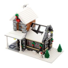 A little greenhouse I created to go along with my LEGO Winter Village sets. Lego Christmas Village, Lego Winter Village, Lego Gingerbread House, Casa Lego, Winter Greenhouse, Greenhouse Ideas, Harry Potter Advent Calendar, Lego Advent, Lego Modular