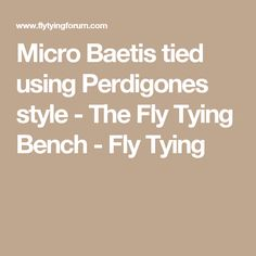 Micro Baetis tied  using Perdigones style - The Fly Tying Bench - Fly Tying