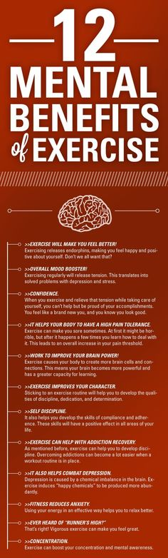 """12 mental benefits of exercise:  This is a great poster I am going to link to my """"Common Core Standards in P.E. Made Easy"""" because there is a lesson (Reading Standard #8) on the """"Mental Benefits of Exercise."""" http://www.teacherspayteachers.com/Product/Common-Core-Standards-for-PE-Made-Easy-20-Activities-to-Align-Your-Program-477038"""