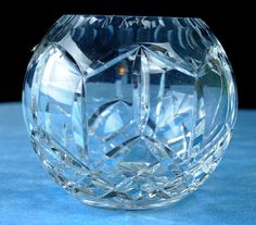 Vintage Heavy Polished 24 Lead Crystal Rose Bowl Round Vase | eBay $24.95
