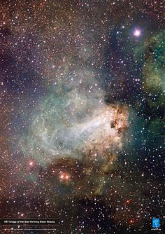 The first released VST (VLT Survey Telescope) image shows the spectacular star-forming region Messier 17, also known as the Omega Nebula or the Swan Nebula, as it has never been seen before. This vast region of gas, dust and hot young stars lies in the heart of the Milky Way in the constellation of Sagittarius (The Archer). More information about this image is available in the ESO