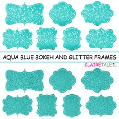 "Digital clipart labels: ""AQUABLUE BOKEH & GLITTER frames"" bokeh and glitter clipart frames, labels, tags on aqua blue background by clairetale. Explore more products on http://clairetale.etsy.com"
