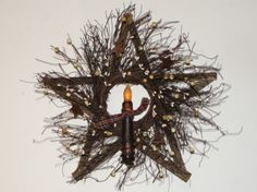 Twig Star Primitive Wreath with Grungy Taper Light Primitive Decorations, Primitive Wreath, Primitive Wood Signs, Primitive Crafts, Primitive Christmas, Country Crafts, Country Decor, Tobacco Sticks, Primitive Country Homes