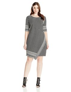f79a2b5a9ad1 Robbie Bee Women's Plus Size 1 Pc Black/Whiteplus Elbow Sleeve Knit Dress,  Value