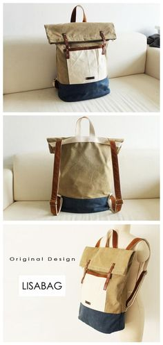 Handcrafted Waxed Canvas Travel Backpack Waterproof Canvas Backpack Hiking Rucksack Laptop Backpack School Backpack Large Backpack 14143 -------------------------------- - Waxed waterproof canvas - Co Canvas Backpack, Travel Backpack, Laptop Backpack, Backpack Brands, Backpack Purse, Canvas Leather, Waxed Canvas, Men's Leather, Laptop Bag For Women