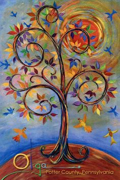 Pennsylvania Dutch Tree of Life Art | Tree of Life painted by Olga Snyder...prints of this painting are ...