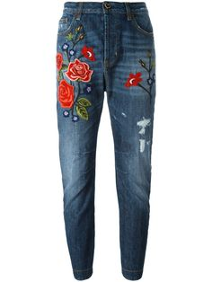 Twin-Set джинсы с вышивкой роз