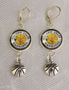Golden State Warriors Earrings w/Basketball Charm Upcycled from Basketball Cards…
