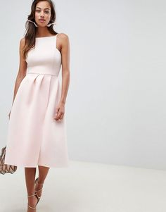 Buy ASOS DESIGN strappy open back prom midi dress at ASOS. Get the latest trends with ASOS now. Satin Mini Dress, Pink Midi Dress, Pleated Midi Dress, Ball Gowns Evening, Women's Evening Dresses, Maxi Dresses, Party Dresses, Prom Dress, Asos