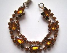 Vintage-Bracelet-Tennis-Orange-Rhinestone-Tennis-Gold-tone-Jewelry-lot-c