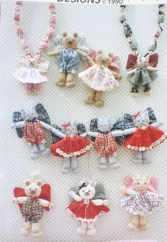 Vintage String Us Along Dotti's Designs 1990 Bears & Kittens Necklace Baby UNCUT