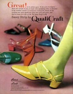 60s low heels yellow red green white black orange Sassy Strip shoes, 1968. Had these in orange when I was 12.