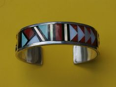 Stylish Southwestern Jet Inlay Bowannie Zuni Cuff Bracelet-Sterling Silver-Ladies-Turquoise by pasttimejewelry on Etsy
