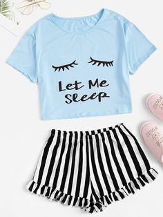 Shop Letter Print Tee & Striped Ruffle Shorts PJ Set at ROMWE, discover more fashion styles online. Cute Pajama Sets, Cute Pjs, Cute Pajamas, Pj Sets, Pajamas Women, Ruffle Shorts, Striped Shorts, Cute Sleepwear, Sleepwear Sets