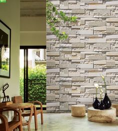 Stone Wall Paper 3d wallpaper bedroom living mural roll modern faux brick stone