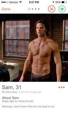 """Sam Winchester   Community Post: If """"Supernatural"""" Characters Had Tinder"""
