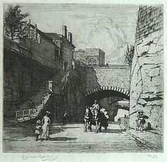 """Lionel Lindsay (1874-1961) Argyle Cut, Sydney - From the Rear, 1917. Etching, signed in plate lower left, signed and numbered """"No. 34"""" in pencil in lower margin"""