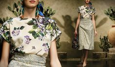 Sicilian Inspiration - Dolce Spring Summer 2013 Sicilian Folk Collection: Mix with violets and brocade.