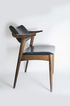 Eames Wegner Era Vintage Black and Dark Polished Wood Dining Chair