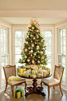 Our Favorite Christmas Trees: Green & Gold Tabletop Tree