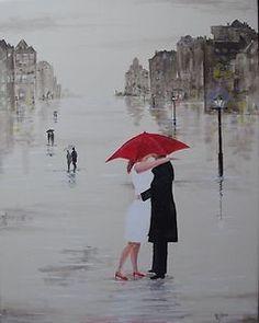 Jim Gillon Original Oil Acrylic Cream Painting Canvas Red Umbrella romantic art | eBay- click picture or search ebay for Jim Gillon