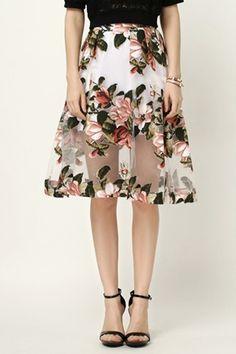 feminine and graceful see -thru voile skirt