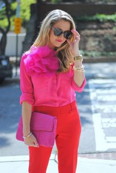 colorblocking, love the pink ruffles