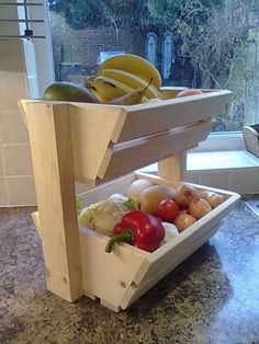 Cool design - would love to make this out of pallet wood! New Wood Vegetable Rack Storage Fruit Box Basket kitchen Produce Vegetable Rack, Vegetable Storage, Vegetable Basket, Fruit Storage, Produce Storage, Fruit Box, Diy Holz, Wooden Pallets, Wooden Diy