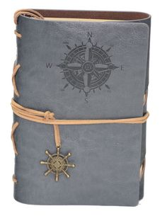 "Grey Compass Leather Journal - 5"" x 7"" Refillable Unlined Blank Book - INPCreative"
