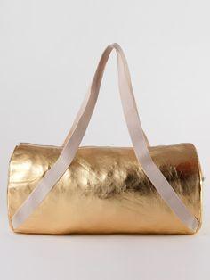 Shiny Denim Diagonal Strap Gym Bag | Shop American Apparel
